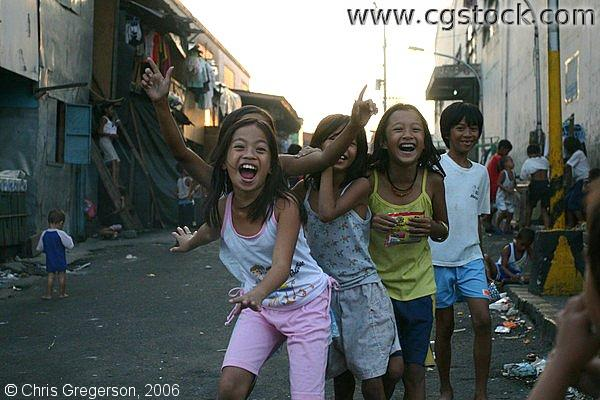 Group of Children Lauging on the Streets in Delpan, Tondo, Manila