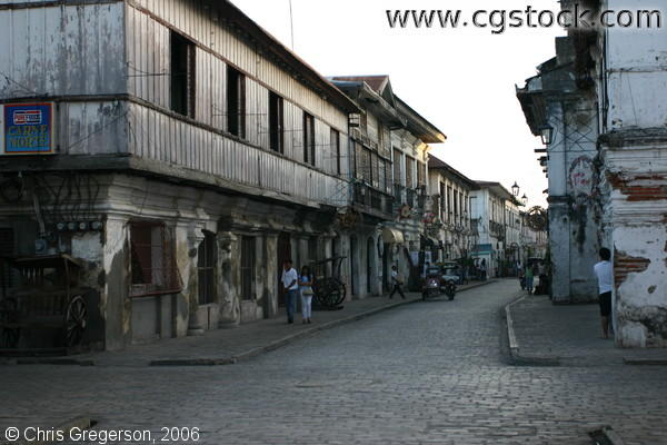 Worn Spanish-Style Buildings and Cobblestone Streets in Vigan, Ilocos Sur
