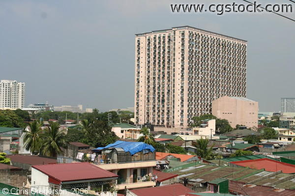 Condominium Rising above Rooftops, Residential Area of Manila
