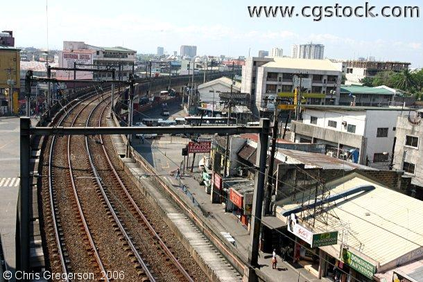 Elevated Light Rail Tracks viewed from Above, Metro Manila