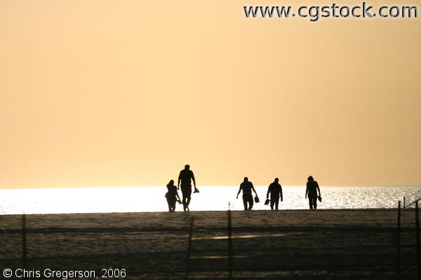 Group of Friends Walking Into the Sunset, Venice Beach, California