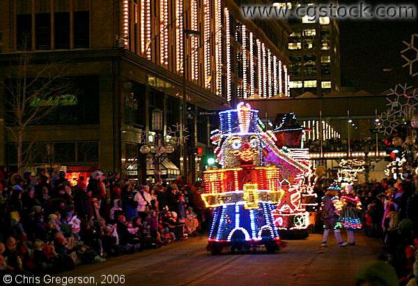 Floats in the Holidazzle Parade