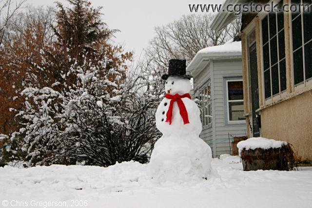 Snowman in Neighborhood Front Yard