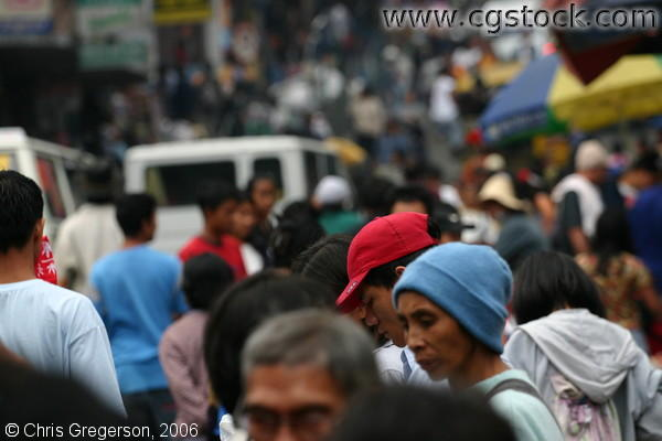 Cars, People, and Vendors in the Teeming Kayang Street, Baguio City, Philippines