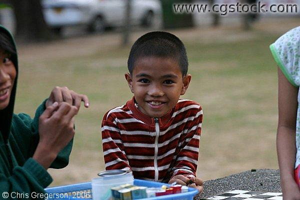 A Smiling Boy at the Burnham Park in Baguio City, Philippines