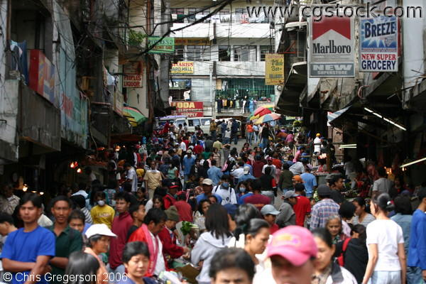 Shoppers and Vendors in One of the Crowded Streets Near the Baguio Public Market