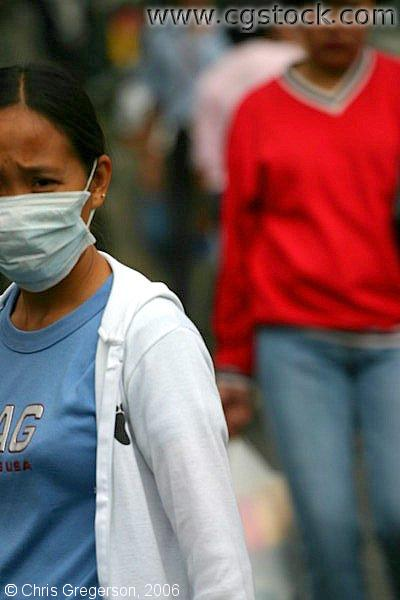 A Teenager Wearing a Face Mask Due to Meningococcemia Outbreak in Baguio City, Philippines