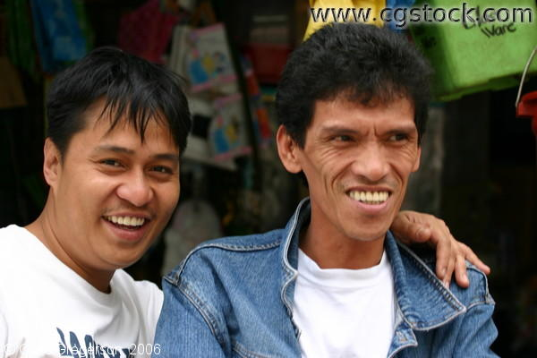 Two Smiling Men in Baguio Public Market, Baguio City, Philippines