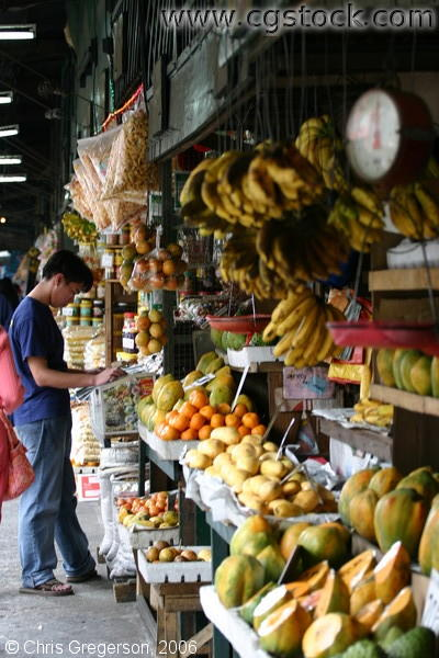 Fresh Fruits Displayed in a Stall Inside Baguio's Public Market in Baguio City, the Philippines