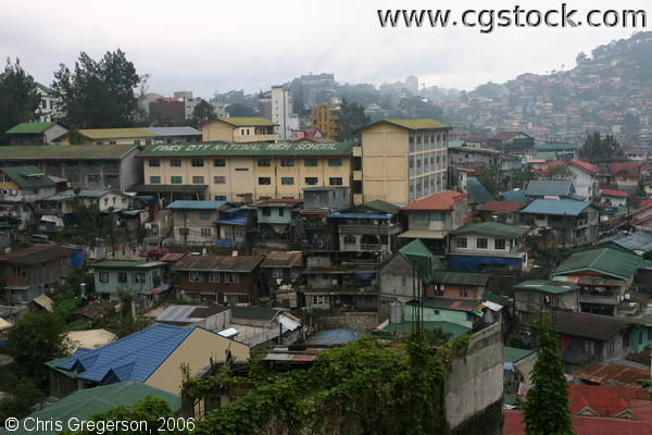 Pines City National High School and Houses at the Lowlands of Baguio City