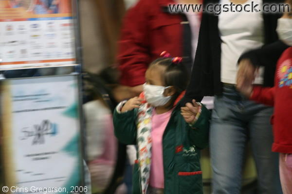 A Small Child Wearing Surgical Mask in Baguio City, the Philippines