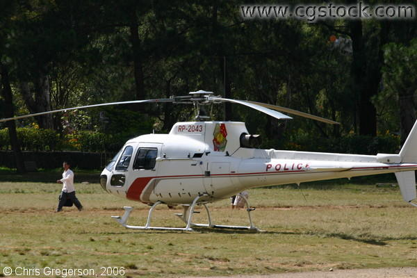 PNP Helicopter Parked by Burnham Park, Baguio, the Philippines