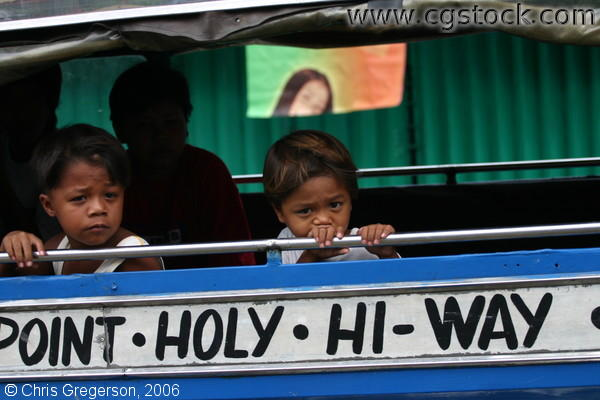 Kids in Jeepney going to Filipino Boy's Burial