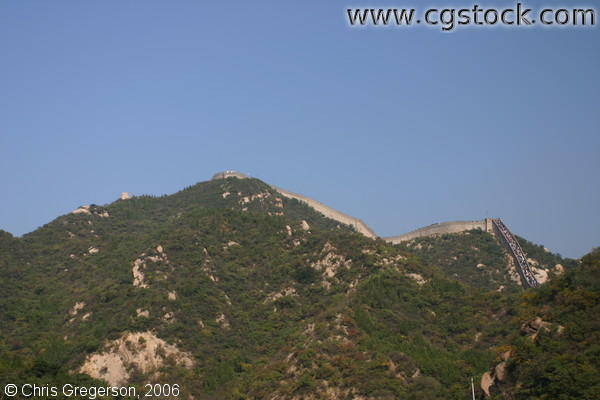 The Great Wall of China on the Crest of a Mountain