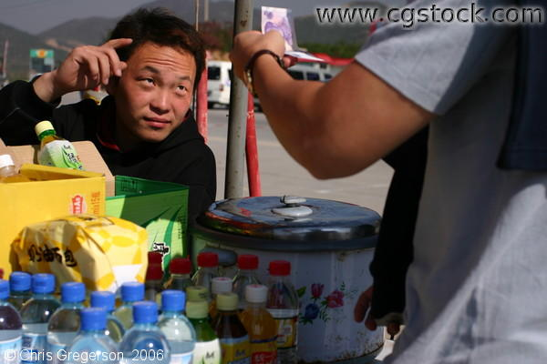 Vendor at the Badaling Entrance of the Great Wall of China
