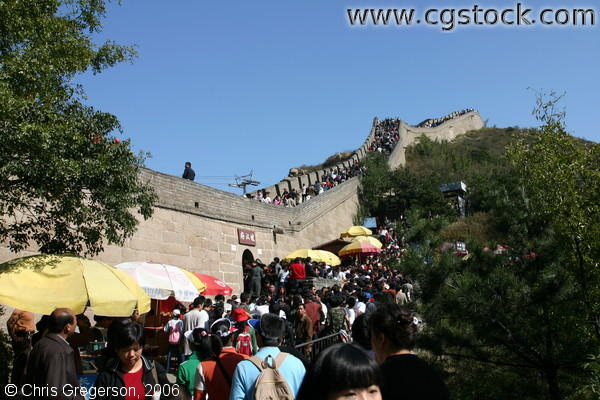 Crowd of People at the Entrance of the Great Wall of China