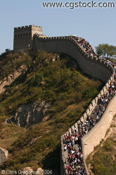 Watchtower and a Descending Walkway on the Great Wall of China
