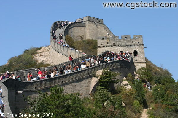 Crowd of People in the Winding Pass of the Great Wall of China near Badaling
