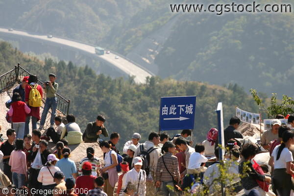 Group of Tourists Near the Great Wall of China