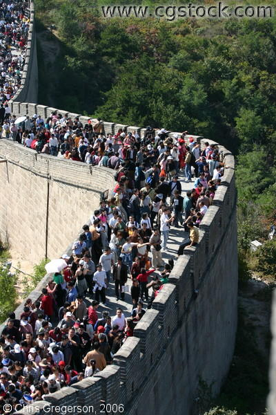 Crowds of the Badaling Section of the Great Wall of China