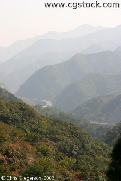 Freeway Between the Mountains in Badaling, China