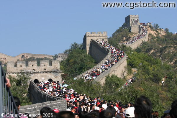 Crowds and Series of Guard Towers on The Great Wall of China