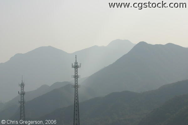 Mountains and Antennas at Dusk in China