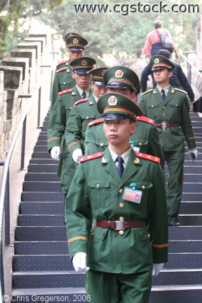 Soldiers Walking Down Stairway, Ming Tombs
