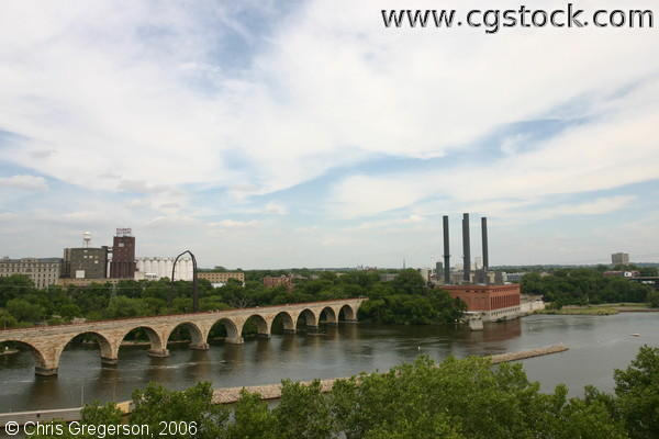Stone Arch Bridge and Mississippi River, as Seen from the Patio of Guthrie Theater, Minneapolis