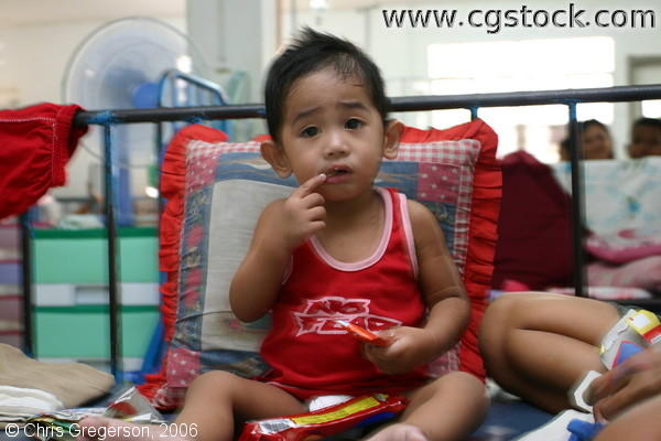 Toddler Eating Snack in Ospital ng Angeles' (ONA) Pediatric Ward