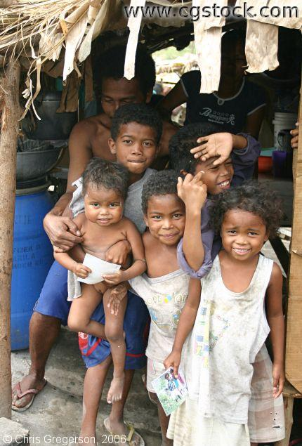 Father with His Children in Aeta Village, Pampanga