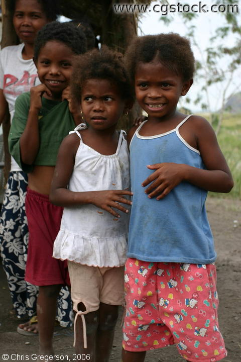 Sister-like Aeta Girls Standing Beside Each Other