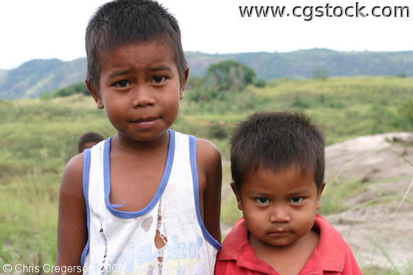 Two Young Filipino Boys Posing at the Aeta Village
