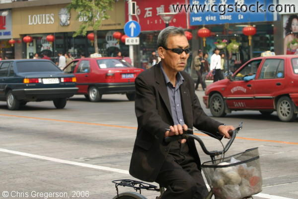 Old Man on a Bicycle, Wangfujing Street, Beijing