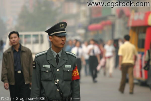 Security Guard Inspecting Wangfujing Street, Beijing