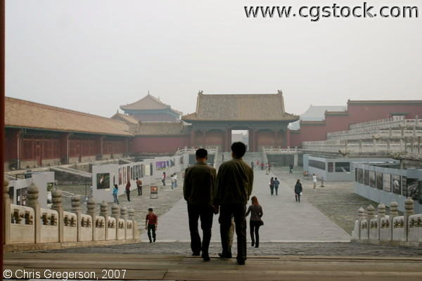 Visitors Walking inside the Forbidden City, Beijing, China