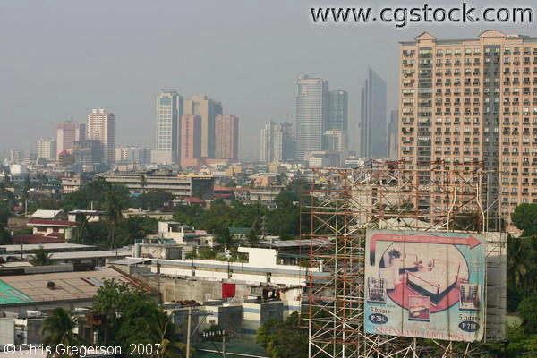 Pollution in Makati Skyline, Philippines