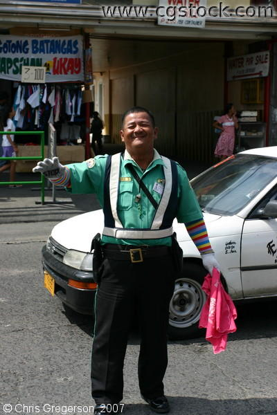 Smiling Traffic Aide in Bacoor, Cavite