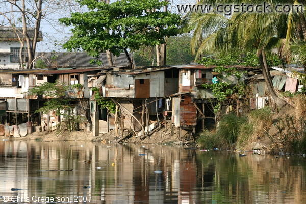 Houses on Stilts along a River in Bacoor, Cavite