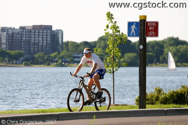 Bicycle Rider at Lake Calhoun, Minneapolis
