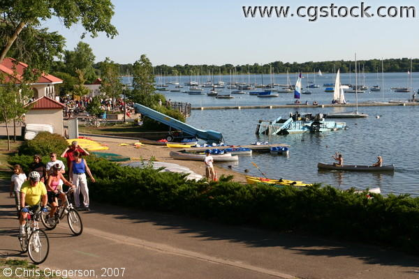 Biking and Canoing at Lake Calhoun, Minneapolis