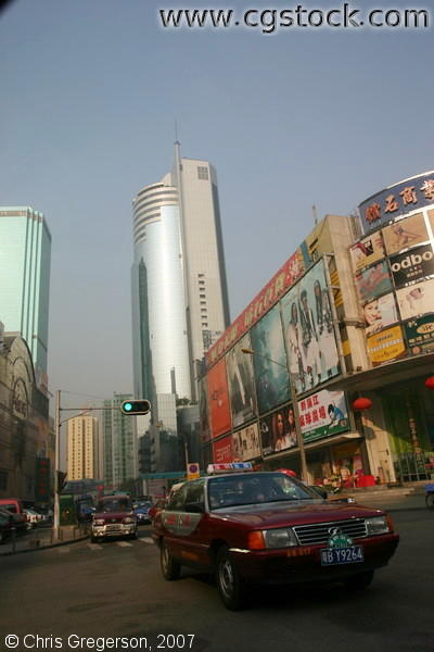 Taxi and Modern Skyscrapers in Shenzhen, China