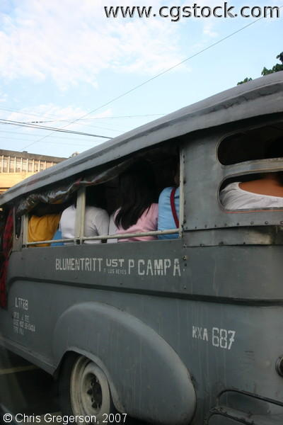 Jeepney Packed with Passengers in Manila