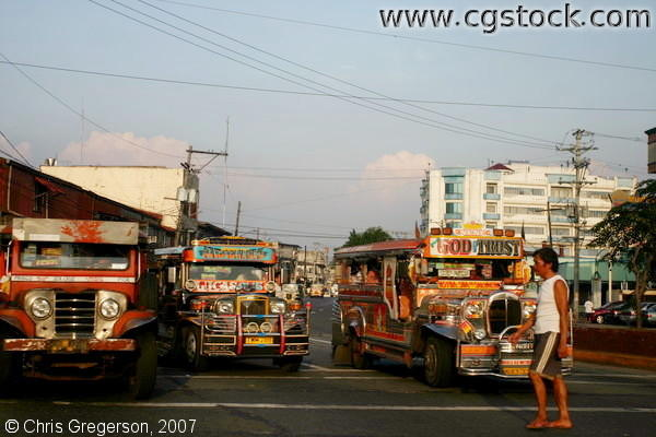 Colorful Jeepneys on a street in Manila, Philippines