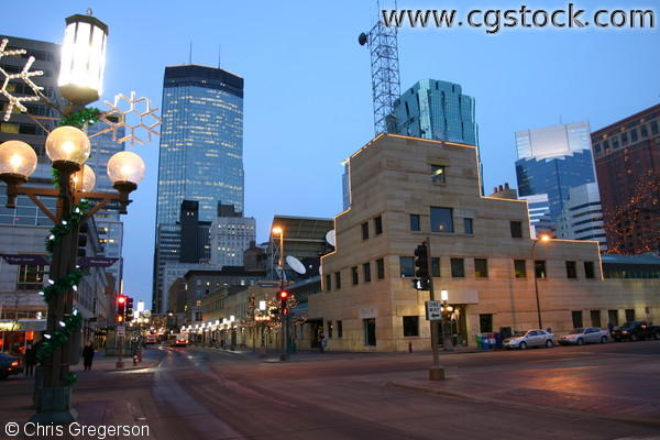 WCCO-TV Building on Nicollet Mall at Night