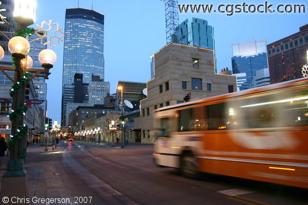 Metro Transit Bus on Nicollet Mall at Night