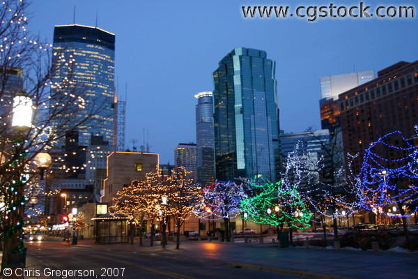 Christmas Lights on Nicollet Mall and Peavy Plaza, Minneapolis