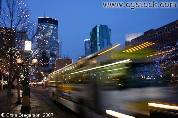 MTC Bus on Nicollet Mall at Night