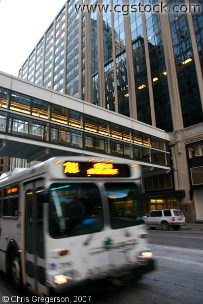 An MTC Bus on 2nd Avenue During Rush Hour in Downtown Minneapolis