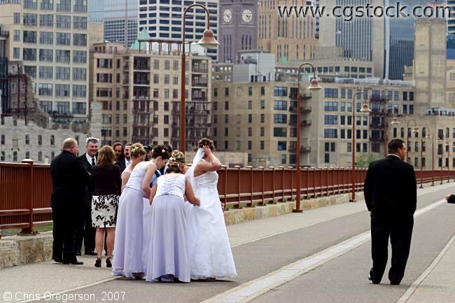 Wedding Party on the Stone Arch Bridge, Minneapolis